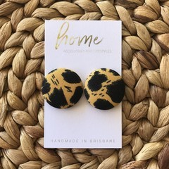 Recycled Mustard Animal Print Leopard Print Stud Earrings | Mother's Day |