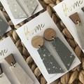 Recycled Grey Terrazzo Linoleum Laminate and Timber Dangle Earrings