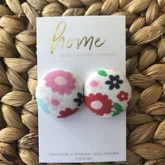 Recycled Flower Floral Red Blue Fabric Stud Earrings
