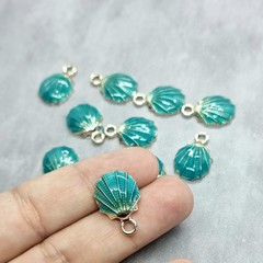 Sea Shell enamel charms - gold and turquoise blue