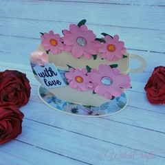 Mothers day tea cup 3d card