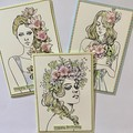 Greeting Card  - Birthday or Blank - Beautiful Girls with Flowers - Choice of 3