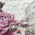 Silver ROSE SPOON EARRINGS. Vintage Silverware Jewellery.  June Birthday Gift.