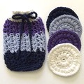 Soap Saver and Four Deluxe Scrubbies in White, Purple, Blue and Navy