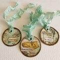Set of 3 Handmade Mixed Media Tags with hand dyed seam binding ribbon
