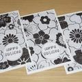 Set 3 Female Happy Birthday cards - black and white print FREE POST