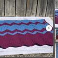 Maroon Aqua Wool Baby Blanket, Baby Shower Gift,, Pram, Cot, Bassinet