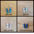 Blue agate silver drop earrings