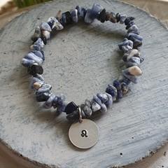 Sodalite Crystal Chip Bracelet + Charm Medallion