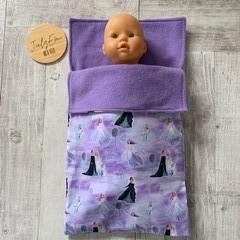 Dolls sleeping bag, dolls accessories, girls gift, frozen, choice of prints