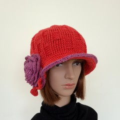 Women winter hat, crochet handmade hat with flower motif
