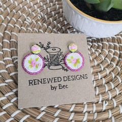 Pink Flower Fabric Earrings