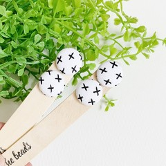 Monochrome Cross Fabric Stud Earrings