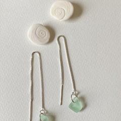 Sea glass thread earrings