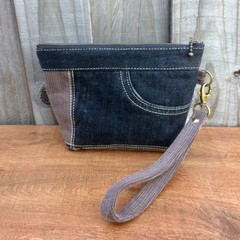 Upcycled Denim Wristlet Pouch - Brown/Black