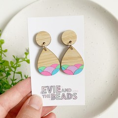 Neon Hand Painted Bamboo Dangles