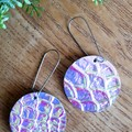 Iridescent, Crocodile Embossed/Printed Genuine Leather Earrings. Circle