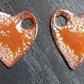 Speckled orange hearts - copper enamel drop earrings