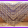 Beautiful structured shawl in taupe and purple
