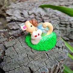 Polymer clay snail mail mini figure - snail ornament - glow in the dark
