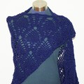 Navy Blue Banksia Flowers Shawl (Design also known as pineapple)