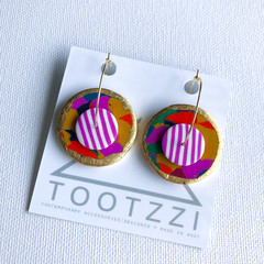 STREET PARTY - Layered Hoops - Violet Stripes - Statement Earrings