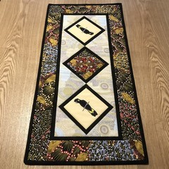 Australiana table runner - YELLOW TAILED BLACK COCKATOO