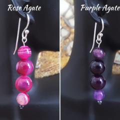 Rose agate silver drop earrings, Purple agate silver drop earrings