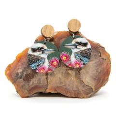 ART EARRINGS   Australian Kookaburras with Timber Studs