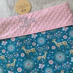 Personalised baby blanket, minkie blanket, pram blanket,  fabric choices