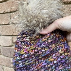 Knitted child beanie rainbow purple faux fur PomPom fit 3-10 year old boy or gir