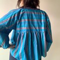 Rainbow fun vintage fabric striped summer spring smock style kimono jacket