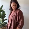 Pink raisin blush soft organic double cloth kimono style jacket.