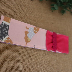 Cutlery Pouch with Cutlery-  Pink Sausage Dogs ( thin pouch)