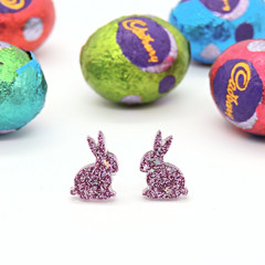 Little Bunny studs - pink & holographic silver