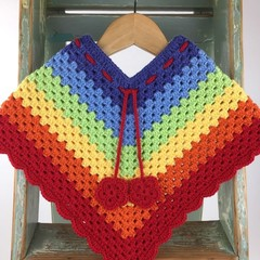 Pure Wool Rainbow Poncho | 1 - 2 Years | Girls | Hand Crocheted | Ready to Post