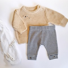 Hand-Embroidered Bumble Bee Baby Jumper Legging Set Newborn Winter Baby Gift