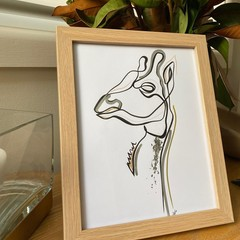 Lined Giraffe Framed Artwork