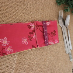 Cutlery Pouch with Cutlery-  Pinky Red Floral