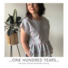 Multi colored stripe top made from repurposed vintage fabric, free size