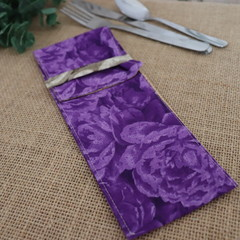 Cutlery Pouch with Cutlery-  Purple Roses