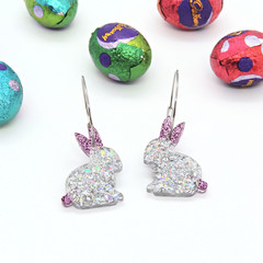 Bunnies on hoops - pink & holographic silver