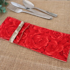 Cutlery Pouch with Cutlery- Red Roses