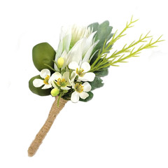 Australian Native Buttonhole - Green Gum Nuts with White Protea and Waxflower