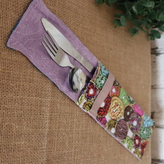 Cutlery Pouch with Cutlery-  Donuts