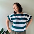 Liquorice green stripe vintage fabric t-shirt top, ruffle sleeves, one size.