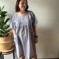 Seersucker cotton blue and white striped smock dress.
