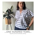 Vintage seersucker striped fabric top with deep v neck, one of a kind