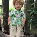 Dolls Clothes cargo Shorts and Hawaiian Shirt for45cm/18inch doll
