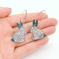 Bunnies on hoops - blue & holographic silver